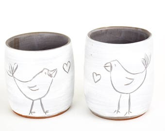 set of two wabi sabi handmade tea cups / goblets with love birds