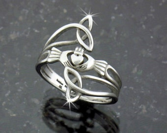 """Modern """"Take Me Home"""" Claddagh & Trinity Ring, s76, Stainless Steel Ring, Claddaugh Ring, Irish Jewelry, Celtic Jewelry (S76)"""