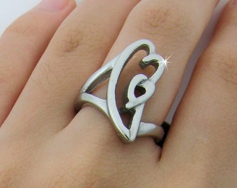 Modern Born in Your Heart Ring, Adoption Ring, Family Love Ring, Healing Heart Ring, Double Hearts Ring, Foster The Family