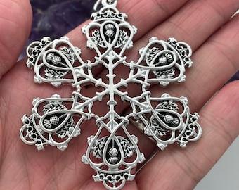 Scottish Thistle & Luckenbooth SnowWonders® Snowflake Christmas ornament  (SW6056) Scottish Christmas Ornament