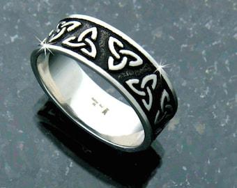 CELTIC TRINITY Knot Band , s194, Celtic RING, Irish ring, Irish wedding ring, Celtic thumb ring, Scottish ring, Celtic men's ring, ( S194)