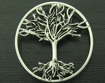 Family Tree/TREE of LIFE Pin Brooch, 7016, Celtic Tree Brooch, Family Tree with Roots,  Christian Pin (7016)