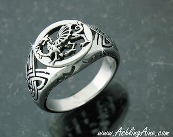 Men's 316L Stainless Steel Welsh Dragon Ring (S234), Men's Signet Ring, Men's Welsh Ring, Celtic Ring