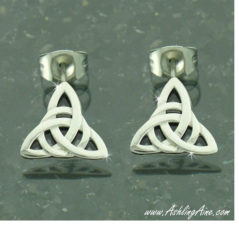 9f302b8af Modern Trinity Knot Post Earrings Celtic Earrings Irish | Etsy
