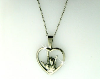 """American Sign Language """"I love you"""" Heart Necklace(large or medium pendant), (S244/246) ASL """"I love you"""" hand symbol Necklace"""