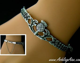 Scottish Thistle Bangle Bracelet,Scottish bracelet, Scottish Jewelry, Thistle bracelet, Scottish Jewellery, Thistle Celtic bangle (#7000)
