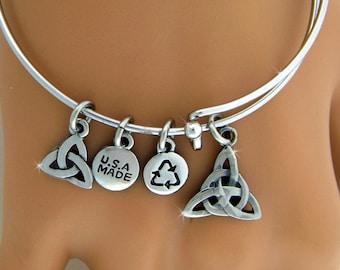Celtic Trinity Charm Bangle, Celtic triquetra, Celtic bracelet, Irish charm bangle( RPEW23)