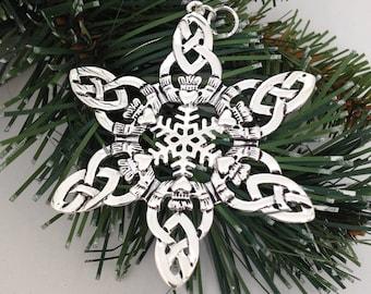 CELTIC Claddagh SnowWonders® Snowflake ORNAMENT,  5058, Silver Irish Snowflake, Claddagh Ornament, Wedding Celtic Ornament(5058)
