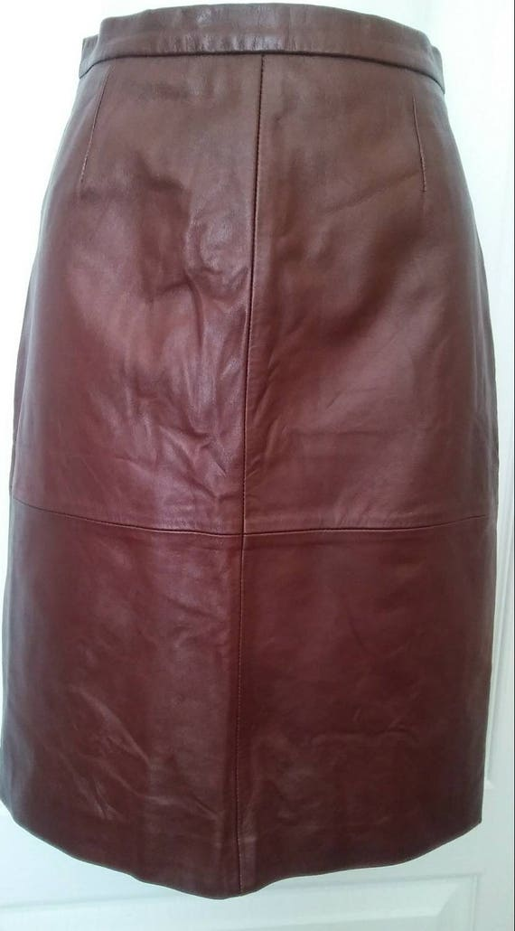Vintage Brown Lambskin Leather Skirt by EXCELLED S
