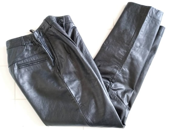 Black lambskin Leather Pants by Excelled SZ 8