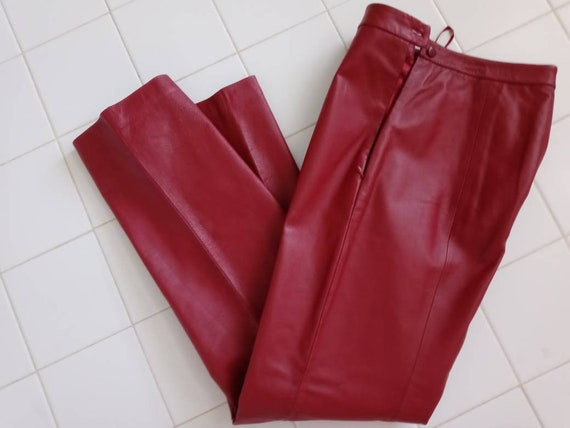 Candy apple Red Leather Pants SZ 12 by Clio Leathe