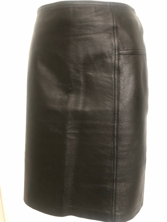 Willi Smith Collection Black Lambskin Leather Skir