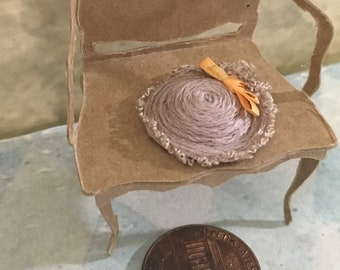 Half scale hat 1 24 scale miniature tiny doll house artisan bergere lady extra small Downton vintage antique shop millinery mauve linen silk