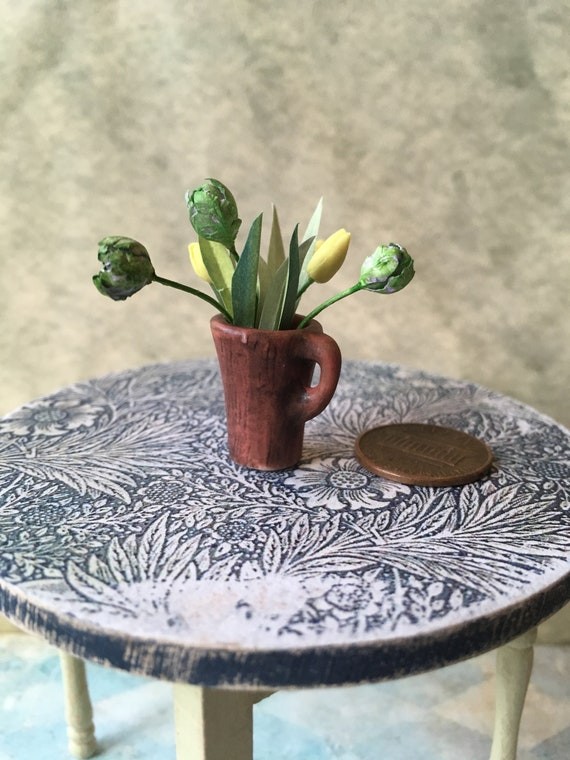 GREEN : DOLLHOUSE 1:12 Miniature Pretty Planter or Storage Container