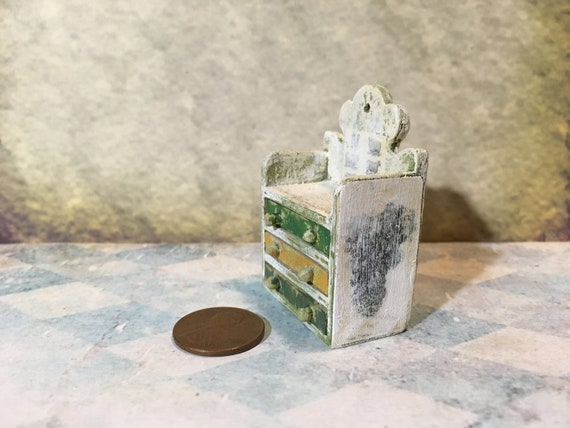 DOLLHOUSE 1:12 Scale Miniature Simple Rustic WHITE Wall Shelf