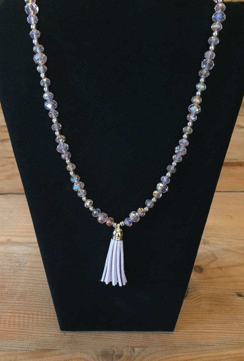 Light pink crystal tassel necklace