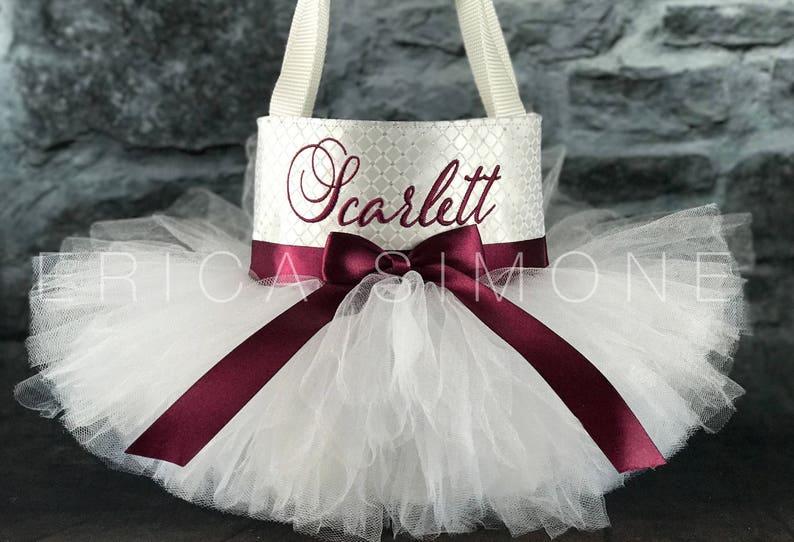 Flower Girl Bag Bride Bag Bridal Bag Birthday Bag Monogram Wedding Bag White Tote Bag White Tutu Tutu Bag