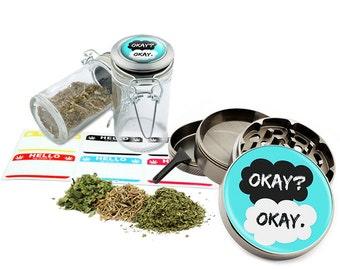 "Okay - 2.5"" Zinc Alloy Grinder & 75ml Locking Top Glass Jar Combo Gift Set Item # 50G102015-35"