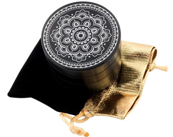 "Mandala Flower Laser Etched Design 2.5"" Large Size Herb Grinder Item # ETCH-G013017-90"
