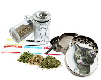 "Cat - 2.5"" Zinc Alloy Grinder & 75ml Locking Top Glass Jar Combo Gift Set Item # 50G102015-27"