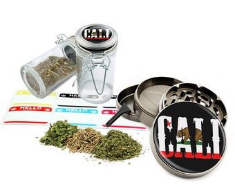 "Cali - 2.5"" Zinc Alloy Grinder & 75ml Locking Top Glass Jar Combo Gift Set Item # G022115-067"