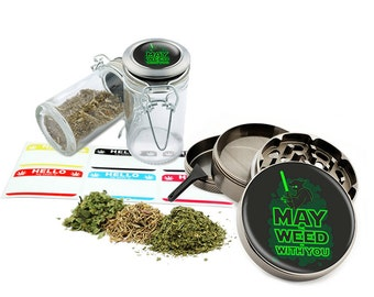 """May With You - 2.5"""" Zinc Alloy Grinder & 75ml Locking Top Glass Jar Combo Gift Set Item # G50120915-23"""