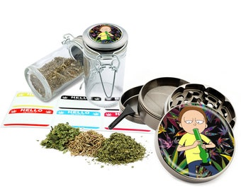 "Morty - 2.5"" Zinc Alloy Grinder & 75ml Locking Top Glass Jar Combo Gift Set Item # G011618-3"