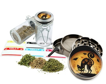 "Leaf Black Cat - 2.5"" Zinc Alloy Grinder & 75ml Locking Top Glass Jar Combo Gift Set Item # G022015-033"