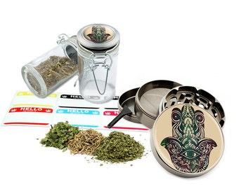 "Hamsa - 2.5"" Zinc Alloy Grinder & 75ml Locking Top Glass Jar Combo Gift Set Item # G123114-0004"