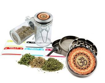 """Om - 2.5"""" Zinc Alloy Grinder & 75ml Locking Top Glass Jar Combo Gift Set Item # G123114-0027"""