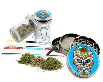 "Sugar Skull - 2.5"" Zinc Alloy Grinder & 75ml Locking Top Glass Jar Combo Gift Set Item # G021615-041"