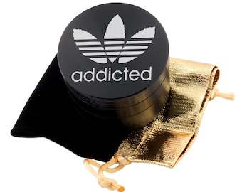 "Addicted Laser Etched Design 2.5"" Large Size Herb Grinder Item # ETCH-G013017-56"