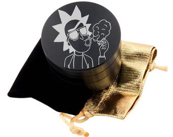 "Rick Smoking Laser Etched Design 2.5"" Large Size Herb Grinder Item # ETCH-G011618-3"