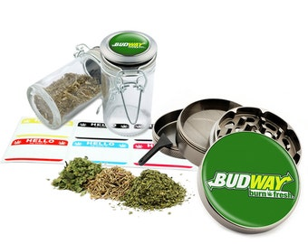 "Budway - 2.5"" Zinc Alloy Grinder & 75ml Locking Top Glass Jar Combo Gift Set Item # 50G102015-22"