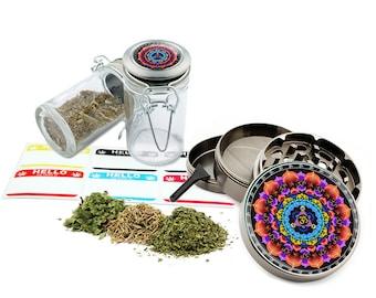 """Om - 2.5"""" Zinc Alloy Grinder & 75ml Locking Top Glass Jar Combo Gift Set Item # G123114-0019"""