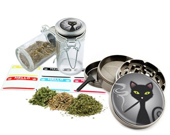 "Smoking Cat - 2.5"" Zinc Alloy Grinder & 75ml Locking Top Glass Jar Combo Gift Set Item # G021615-026"
