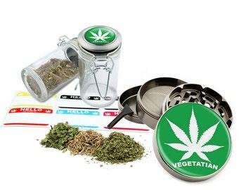 "Vegetatian - 2.5"" Zinc Alloy Grinder & 75ml Locking Top Glass Jar Combo Gift Set Item # 50G21916-7"