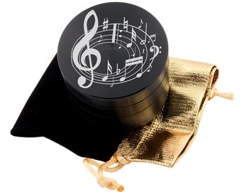 "Music Laser Etched Design 2.5"" Large Size Herb Grinder Item # ETCH-G013017-111"