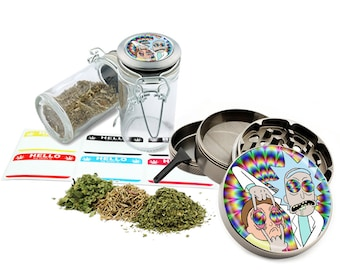 "Rick and Morty - 2.5"" Zinc Alloy Grinder & 75ml Locking Top Glass Jar Combo Gift Set Item # G011618-2"