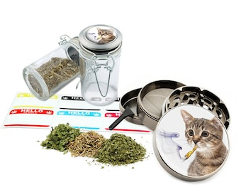 "Smoking Cat - 2.5"" Zinc Alloy Grinder & 75ml Locking Top Glass Jar Combo Gift Set Item # G50120915-14"