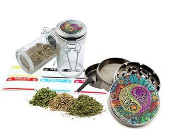 "Yin Yang - 2.5"" Zinc Alloy Grinder & 75ml Locking Top Glass Jar Combo Gift Set Item # 110514-0033"