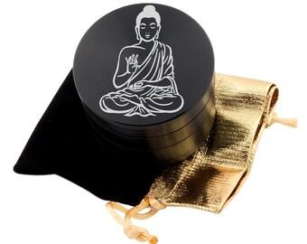 """Buddha Laser Etched Design 2.5"""" Large Size Herb Grinder Item # ETCH-G013017-9"""