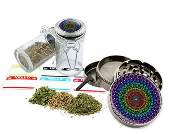 "Psychedelic - 2.5"" Zinc Alloy Grinder & 75ml Locking Top Glass Jar Combo Gift Set Item # 110514-0015"