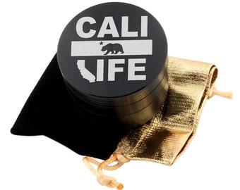 """Cali Life Laser Etched Design 2.5"""" Large Size Herb Grinder Item # ETCH-G013017-13"""