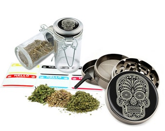 "Sugar Skull - 2.5"" Zinc Alloy Grinder & 75ml Locking Top Glass Jar Combo Gift Set Item # G021615-033"