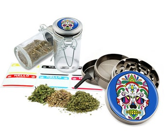 "Sugar Skull - 2.5"" Zinc Alloy Grinder & 75ml Locking Top Glass Jar Combo Gift Set Item # G021615-039"