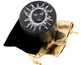 "Sun & Moon Laser Etched Design 2.5"" Large Size Herb Grinder Item # ETCH-G013017-42"