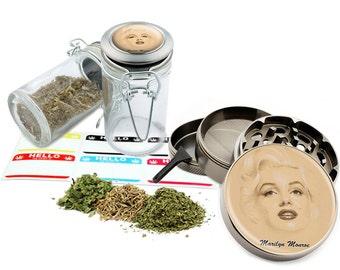 "Marilyn Monroe - 2.5"" Zinc Alloy Grinder & 75ml Locking Top Glass Jar Combo Gift Set Item # 50G012516-1"