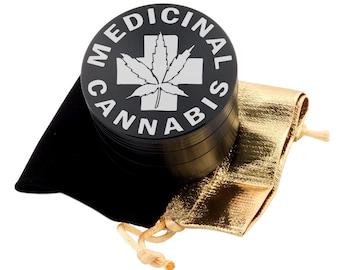 """Medicinal Leaf Laser Etched Design 2.5"""" Large Size Herb Grinder Item # ETCH-G013017-33"""