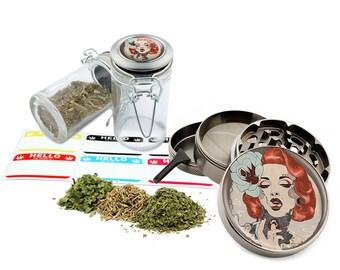 "Marilyn Monroe - 2.5"" Zinc Alloy Grinder & 75ml Locking Top Glass Jar Combo Gift Set Item # 50G012516-28"